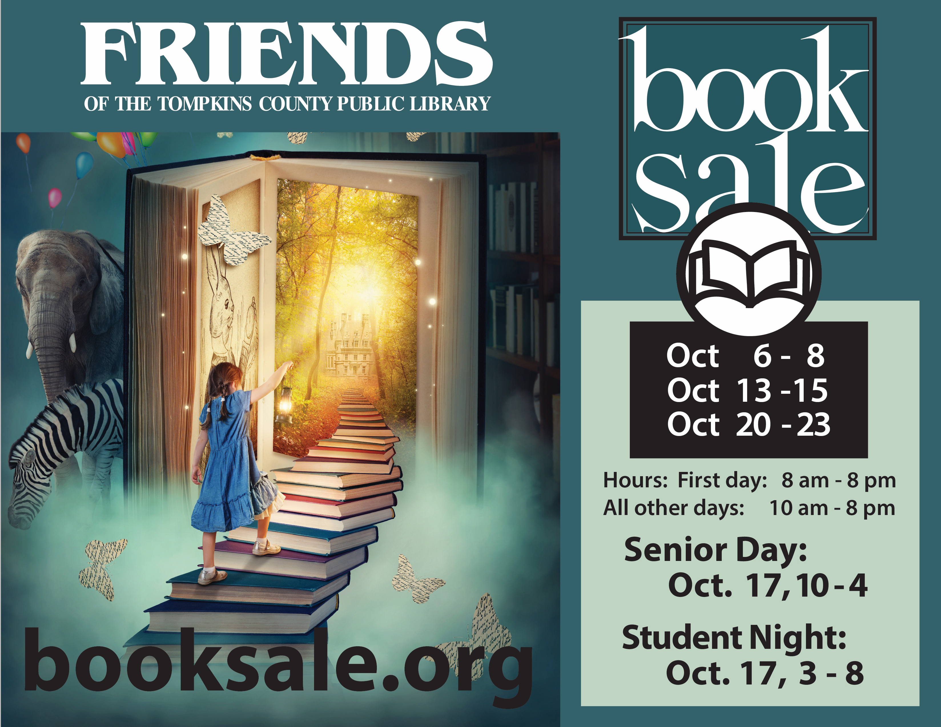 Friends Book Sale poster featuring image of young girl walking up a stack of books