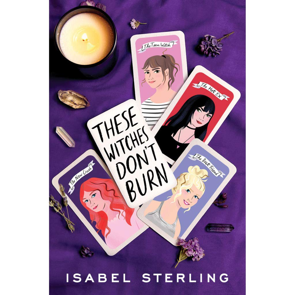 Photo of the book cover, which is purple and features illustrations of four teen girls on tarot cards