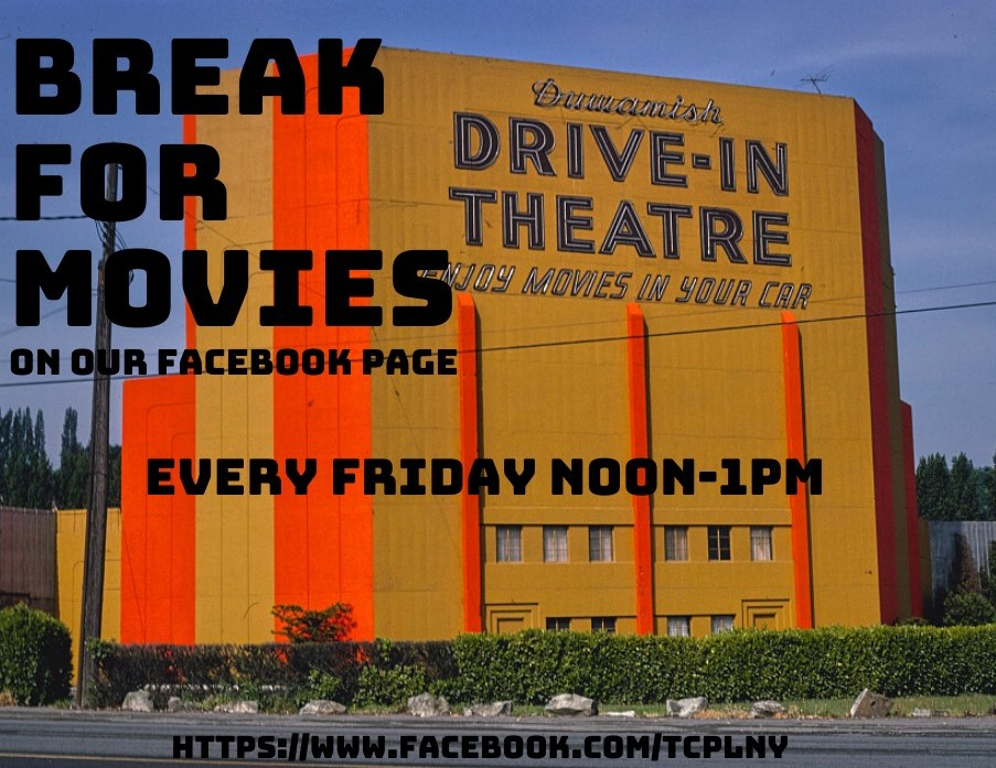 Break for Movies logo featuring image of a drive in movie theatre