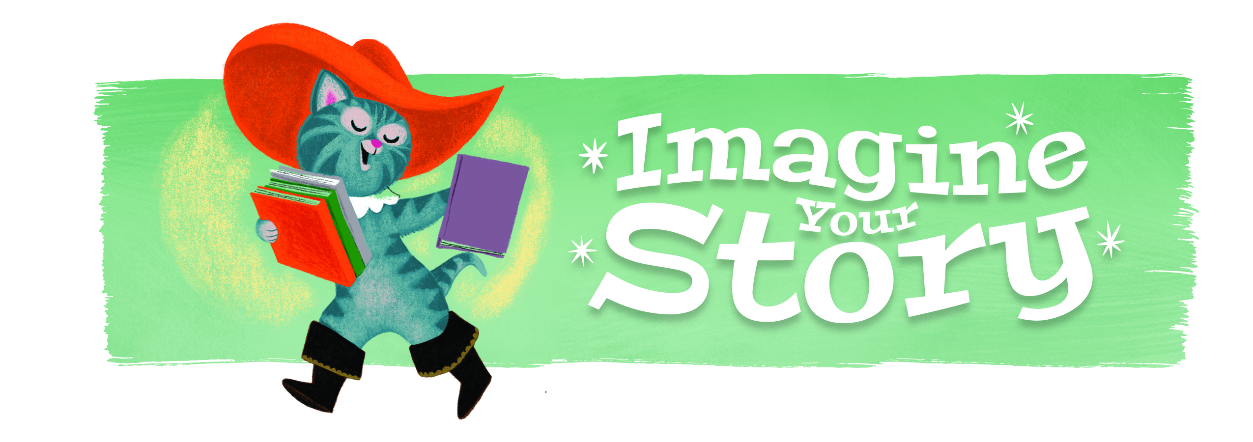 "SRP 2020 banner featuring an illustration of Puss in Boots carrying books and the slogan ""Imagine Your Story"""