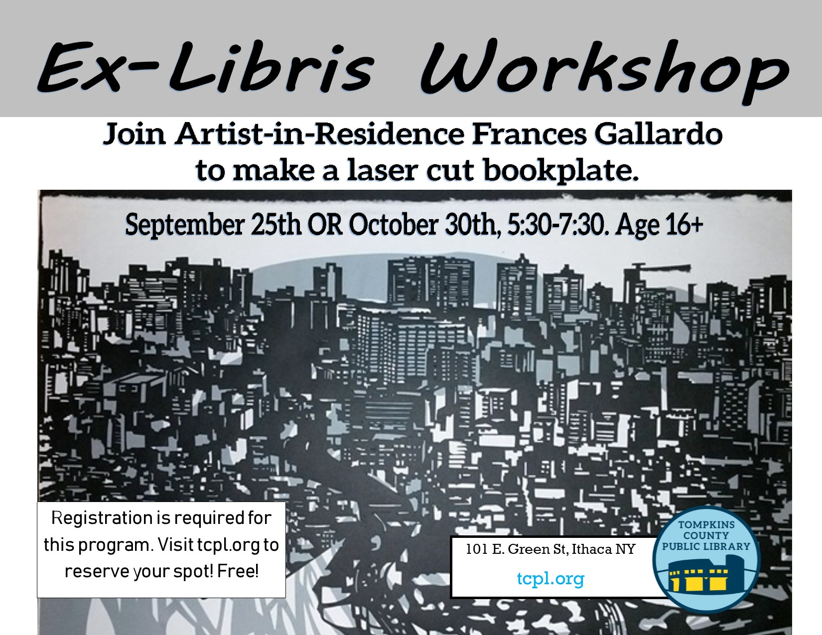 Flyer advertising Frances Gallardo fall workshop, depicting a laser-cut paper cityscape
