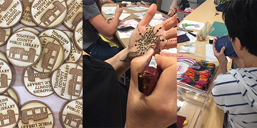 Collage of makerspace photos, left to right: laser-cut TCPL logos, a hand with henna decoration, and a person embroidering fabric