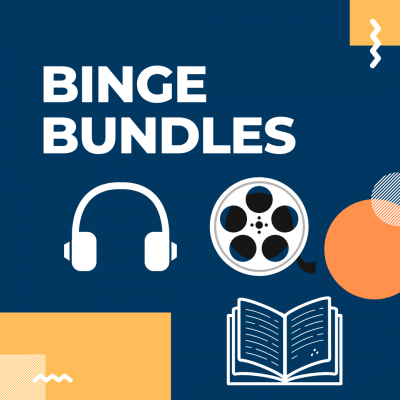 image advertising binge bundles featuring a picture of headphones, movie reel, and book