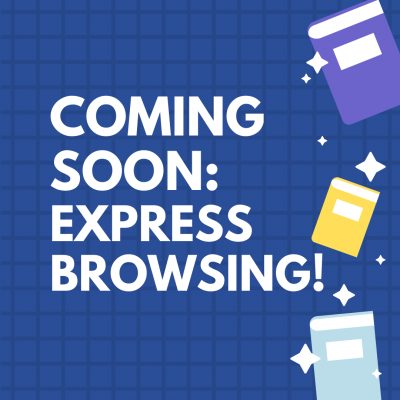 Image advertising Express Browsing announcement, white text on a blue background, with yellow, purple and blue along right edge
