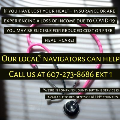 Image from HSC of Tompkins County announcing health care navigator number at 607-273-8686 ext 1