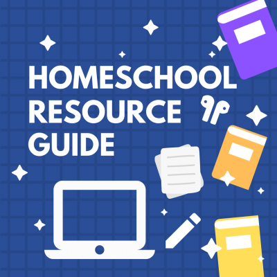 image advertising homeschool resource guide featuring white lettering on blue background and book, laptop, paper, pencil, and ear bud icons