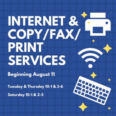 Image advertising internet and copy/fax/print services beginning August 11 featuring white images of keyboard and printer against a blue background
