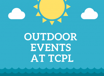 outdoor events summer 2019 banner featuring illustration of yellow sun and white clouds against a blue background