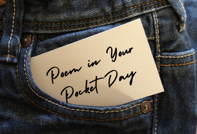 Jean pocket with a note that reads Poem in Your Pocket Day