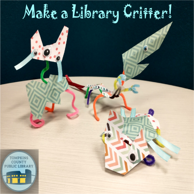 Image showing critters made of recycled materials and the words Make a Library Critter