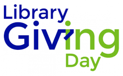 Library Giving Day blue and green logo