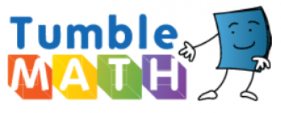 "Tumblemath logo of blue book person next to the words ""Tumblemath"" in many colors"