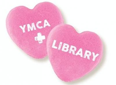 Image of pink conversation hearts labeled YMCA plus Library