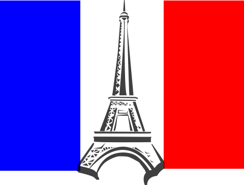 The french flag with a drawing of the Eiffel Tower