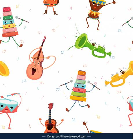 Friendly personified musical instruments dancing among musical notes