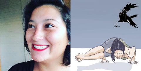 On the left, a photo of a smiling young woman with black hair, on the right, an illustration of a person holding a yoga pose.