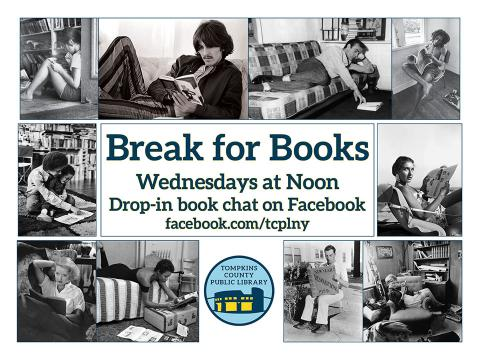 Break for Books logo featuring a collage of vintage images of celebrities with books
