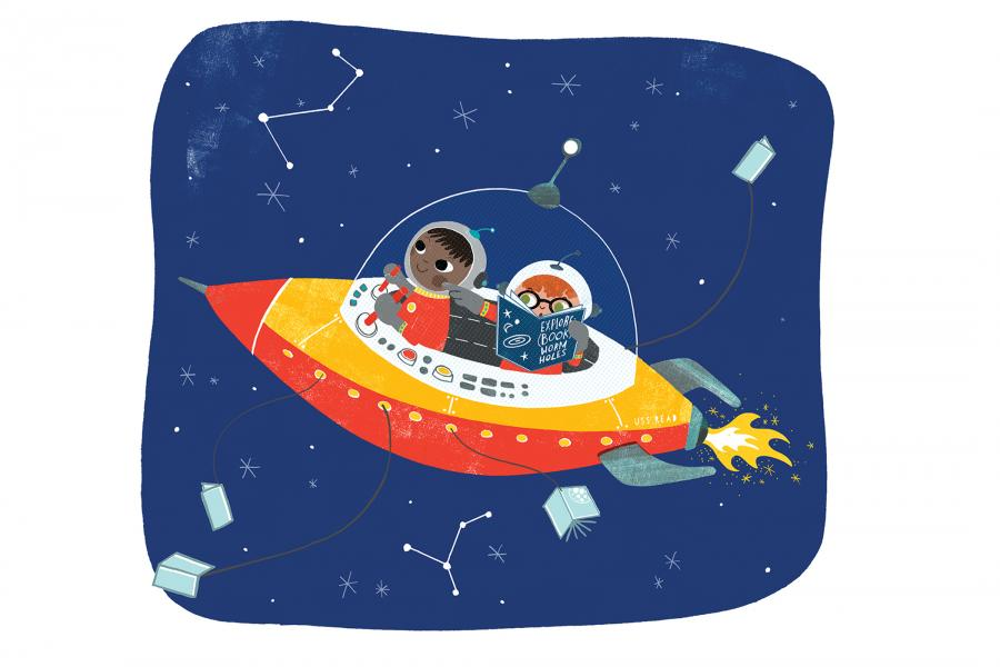 Image of kids in a spaceship, advertising kids summer reading adventure