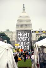 Image from Everybody's Got a Right to Live: the Poor People's Campaign of 1968 and Today showing a sign in front of the capital that reads Fight Poverty Not the Poor