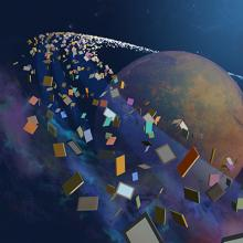 Image of a planet surrounded by books advertising 2019 teen summer reading program