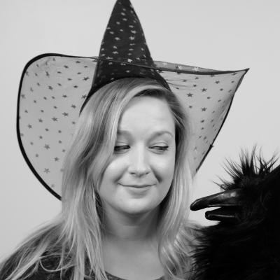 Silly photo of Meghan M. wearing a witch hat